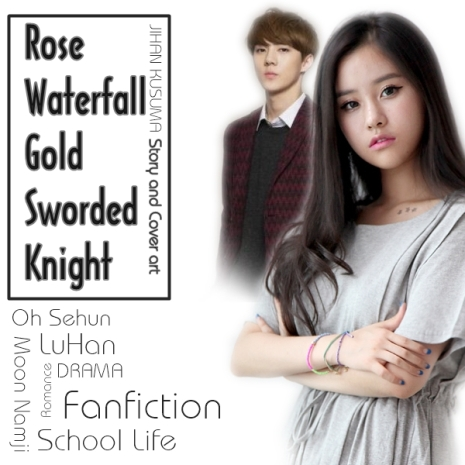 rose waterfall and gold sworded knight